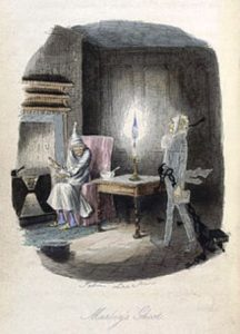 """Marley's Ghost"", Original illustration by John Leech from A Christmas Carol"